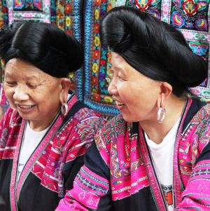 Longji Women (China) -- Their hats are their very long hair.
